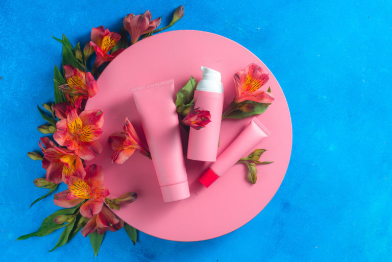 sunscreen and skin care cosmetics in the pink private label